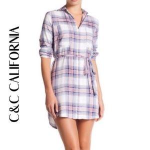C&C CALIFORNIA Mini Plaid Shirt Dress